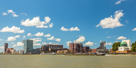 maas: Panoramic view of the north side of the river Maas in Rotterdam, The Netherlands