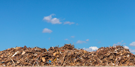commercial recycling: Panoramic image of a large pile of wood on a garbage depot Stock Photo