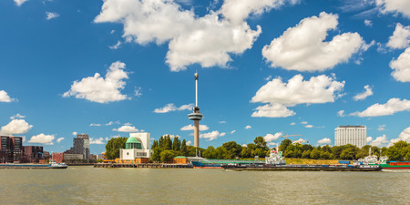 north holland: Panoramic cityscape of Rotterdam alongside the Maas river
