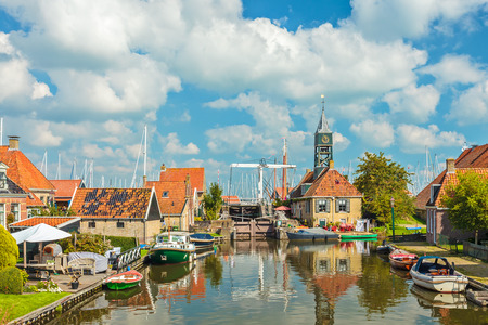Summer view of the old village of Hindeloopen in Friesland, The Netherlands
