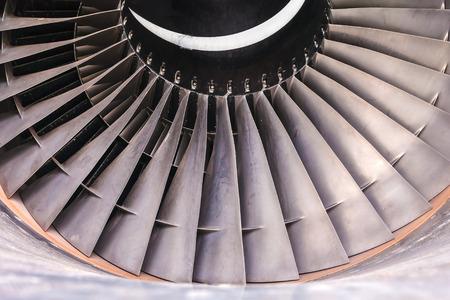 turbine engine: Detail of a used airplane jet turbine engine Stock Photo