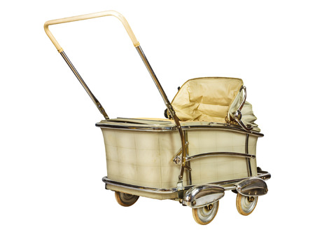 pram: Vintage off white baby stroller isolated on a white background Stock Photo