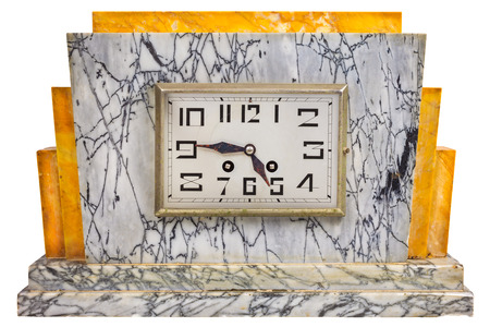 twentieth: Art deco design marble clock from the early twentieth century isolated on a white background