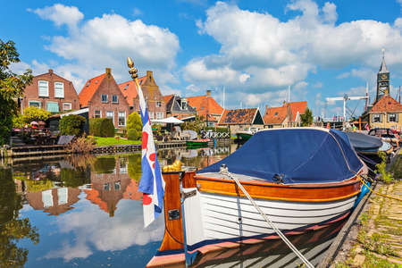 small boat: Classic sloop in the Frisian village of Hindeloopen, The Netherlands