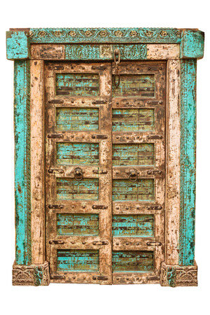 Medieval Asian wooden ornamental door isolated on a white background photo