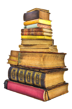Pile of different old used books isolated on a white background photo