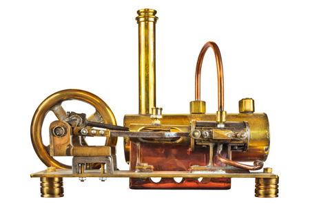 Vintage steam engine isolated on a white background Stock Photo