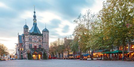 Panoramic evening view of the central square in the historic Dutch city Deventer
