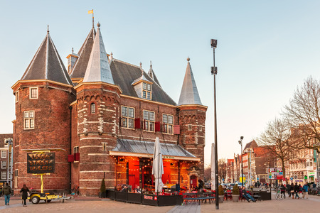 stronghold: AMSTERDAM, THE NETHERLANDS - MARCH 12, 2015: Sunset view of the ancient stronghold The