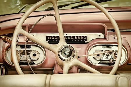 old mercury: DREMPT, THE NETHERLANDS - MARCH 26, 2015: Retro styled image of the interior of a classic 1957 Mercury Monterey in Drempt, The Netherlands