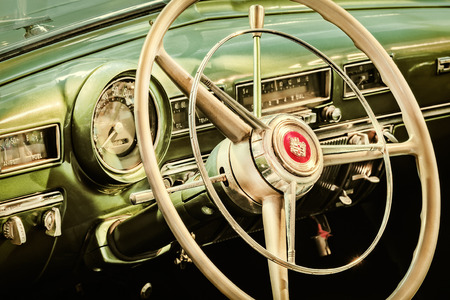 dodge: DREMPT, THE NETHERLANDS - MARCH 26, 2015: Retro styled image of the interior of a classic 1951 Dodge Coronet in Drempt, The Netherlands Editorial