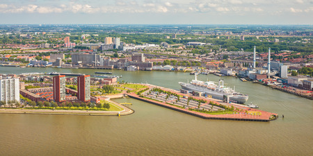 maas: Panoramic view of The Dutch river Maas in Rotterdam, The Netherlands Stock Photo