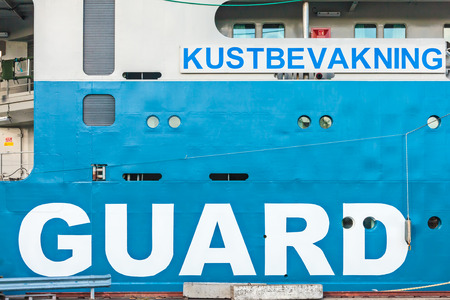 coastguard: KARLSKRONA SWEDEN  MAY 26 2015: Detail of a Swedish coastguard ship in the harbour of the city of Karlskrona Sweden Editorial