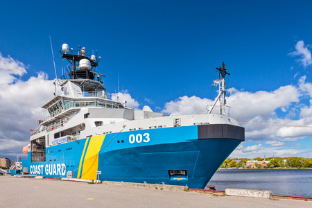 coastguard: KARLSKRONA SWEDEN  MAY 26 2015: Swedish coastguard ship in the harbour of the city of Karlskrona Sweden