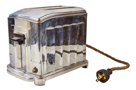 Old chrome bread toaster isolated on a white background 版權商用圖片