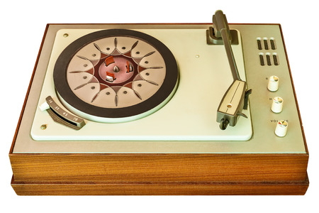 turntable: Old vinyl turntable player from the seventies in a wooden casing isolated on a white background Stock Photo
