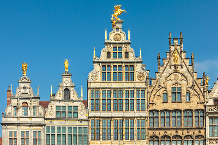 guild: Ancient guild houses situated on the central square in Antwerp center, Belgium