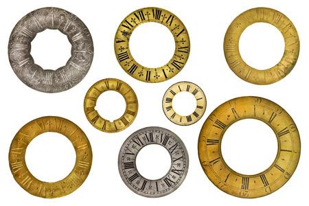 reloj antiguo: Conjunto de ocho anillos de la cara del reloj vintage aislados sobre un fondo blanco