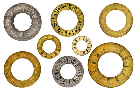 clock: Set of eight vintage clock face rings isolated on a white background
