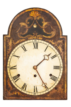 seventeenth: Genuine ornamental seventeenth century clock isolated on a white background Stock Photo