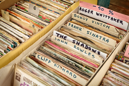 record albums: ROSMALEN, THE NETHERLANDS - MAY 10, 2015: Retro styled image of boxes with vinyl turntable records on a flee market in Rosmalen, The Netherlands Editorial