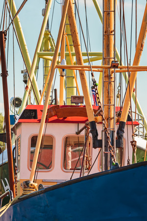 fishing pier: Close up of a Dutch fishing boat in the province of Friesland Stock Photo