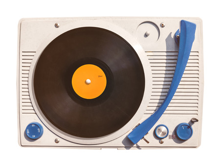 Old vinyl turntable player with record isolated on a white background