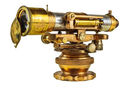 astronomie: Antike wissenschaftlichen Fernrohr auf einem weißen Hintergrund