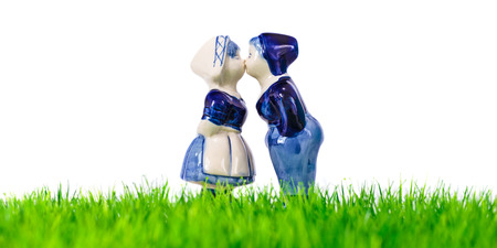 souvenir: Dutch souvenir boy and girl kissing on grass