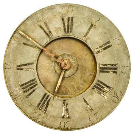 clock: Vintage rusty and weathered clock face isolated on a white background
