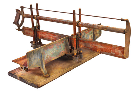miter: Vintage rusty manual miter saw isolated on a white background Stock Photo