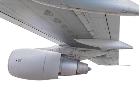 turbine engine: Airplane wing with turbine engine isolated on a white background