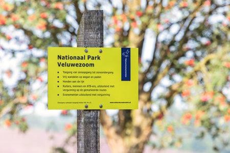 posbank: RHEDEN, THE NETHERLANDS - AUGUST 13, 2015: Information sign at national park Veluwezoom in Rheden, The Netherlands