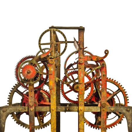 mechanical: Large rusty ancient church clock mechanism isolated on a white background Stock Photo