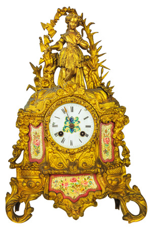 eighteenth: Genuine eighteenth century golden table clock isolated on a white background Stock Photo