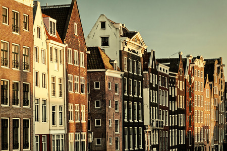 canal houses: Retro styled image of ancient canal houses in the Dutch capital city Amsterdam