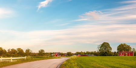 Panoramic image of old red wooden farms with road during sundown in Smaland, Sweden