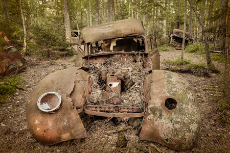 salvage yards: Sepia toned image of an old rusted and weathered scrap car in a forest Stock Photo