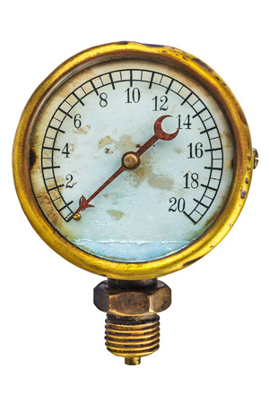 industry background: Vintage brass industry meter isolated on a white background