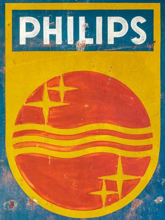 manufacturer: DREMPT, THE NETHERLANDS - OCTOBER 1, 2015: Old hand painted advertisement of the Dutch electronics manufacturer Philips in Drempt, The Netherlands Editorial