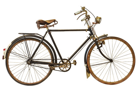 bicycles: Vintage rusted bicycle isolated on a white background Stock Photo