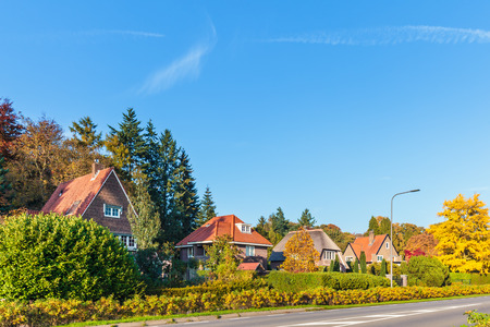 veluwe: Row of classic Dutch villas in the province of Gelderland during autumn Stock Photo
