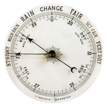 atmospheric pressure: Vintage weathered barometer isolated on a white background Stock Photo