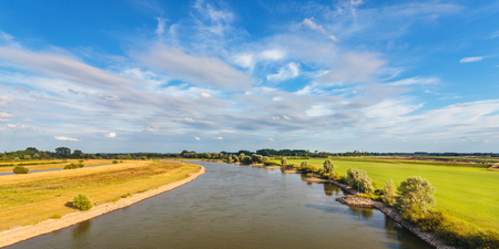 ijssel: Panoramic image of the old Dutch river IJssel in the province of Gelderland