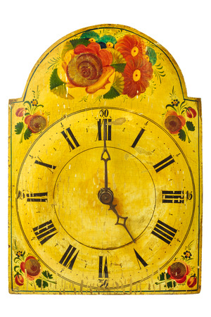 seventeenth: Genuine ornamental seventeenth century clock with flower pattern isolated on a white background Stock Photo