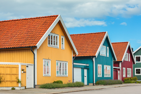 swedish: Ancient colorful wooden houses in the city of Karlskrona, Sweden