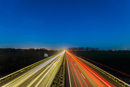 Night view of the highway between the Dutch cities of Arnhem and Doesburg