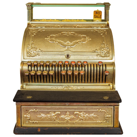 maquina registradora: de caja registradora de la vendimia ornamental aislado en un fondo blanco Foto de archivo