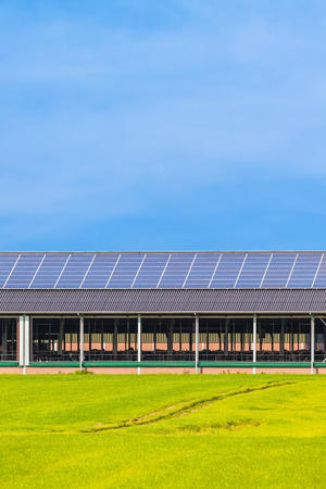 panel: Solar panels on a new farm barn in The Netherlands Stock Photo