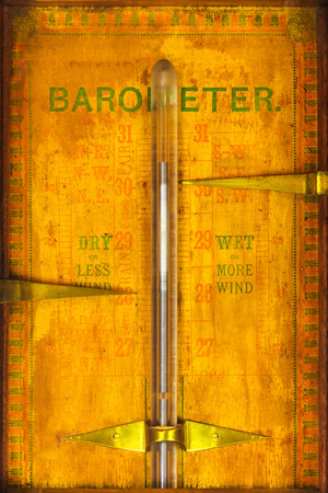forecaster: Close up of a weathered vintage barometer Stock Photo
